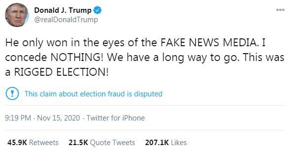 Đăng tweet bị tưởng là nhận thua, ông Trump nói lại về phát ngôn ông Biden chiến thắng - Ảnh 1.