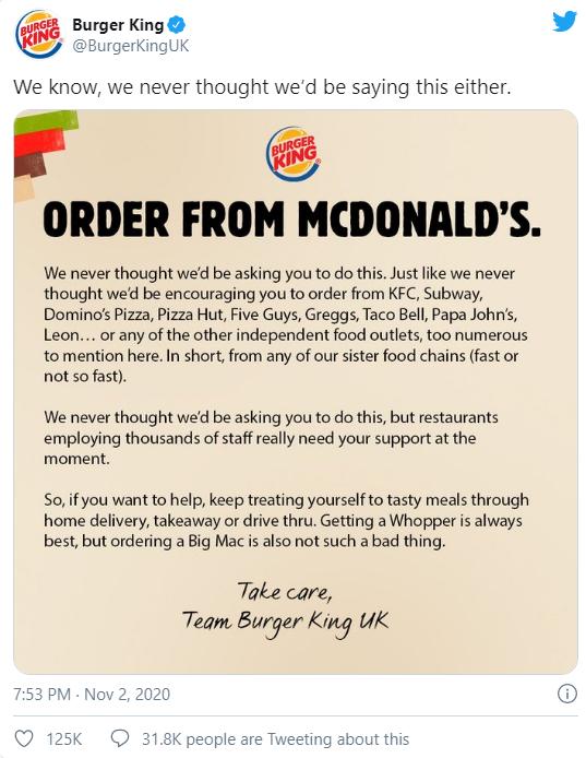 Nước đi không ai ngờ của Burger King: Kêu gọi khách hàng mua đồ của McDonalds, KFC, Pizza Hut - Ảnh 1.