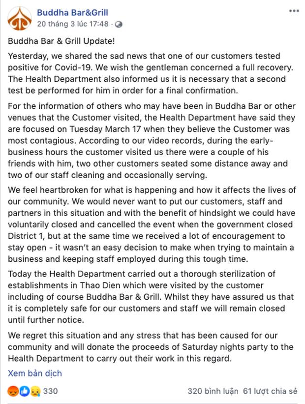Nghi vấn quán bar ở Quận 2 có khách hàng dương tính với Covid-19 đã đóng cửa vĩnh viễn, fanpage hiện cũng biến mất trên Facebook? - Ảnh 3.