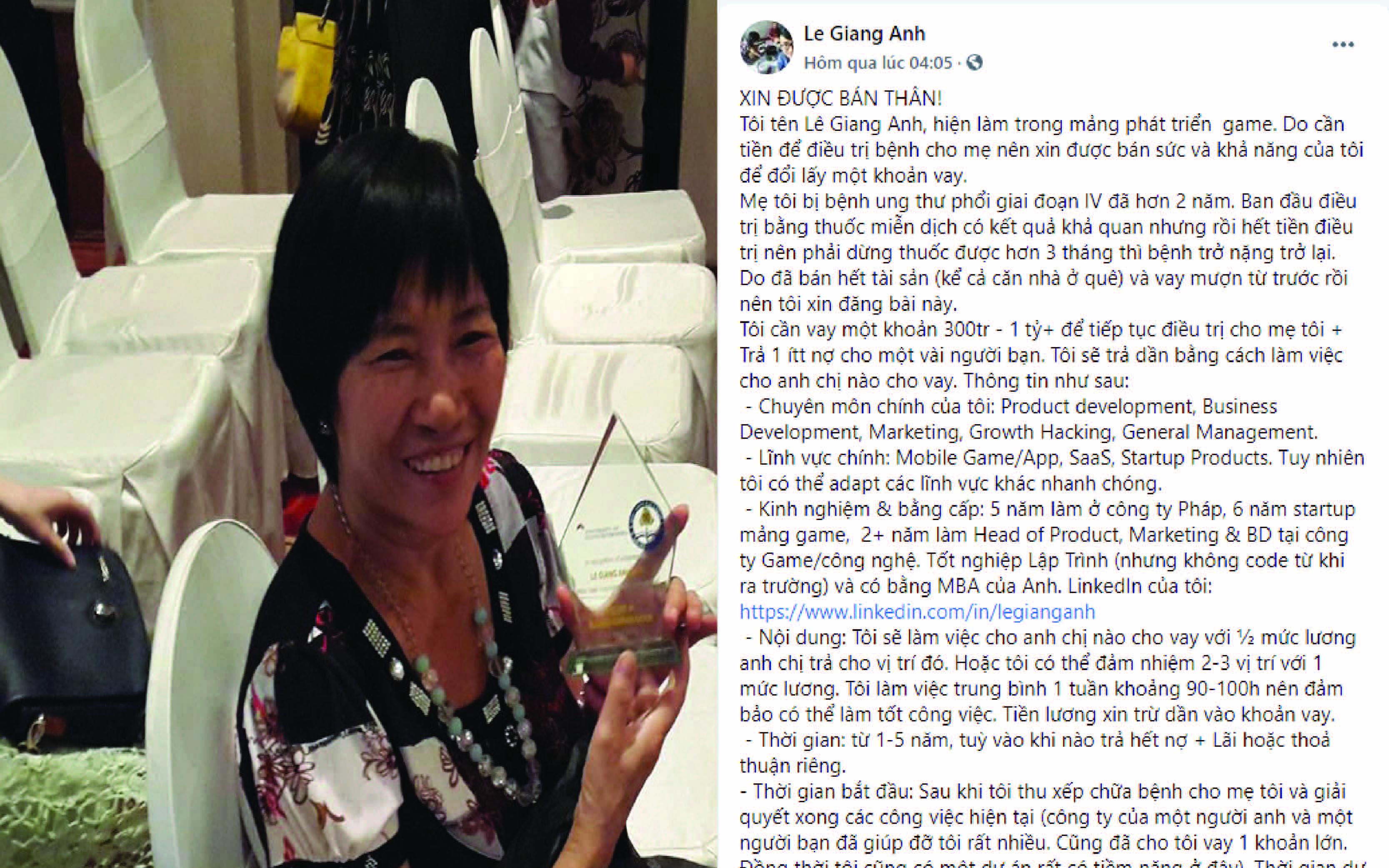 Mẹ mắc ung thư giai đoạn cuối, con trai xin đổi sức của mình lấy tiền chữa bệnh cho mẹ