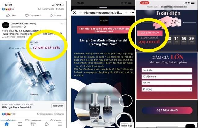 Hàng loạt Fanpage và website giả mạo LANCÔME Việt Nam bán hàng giả: Chị em cần đặc biệt lưu ý kẻo tiền mất, tật mang!  - Ảnh 1.