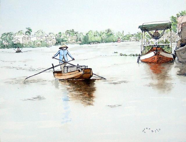 Bộ tranh đẹp quá Việt Nam ơi được vẽ bởi họa sĩ người Pháp, cộng đồng mạng quốc tế thích thú ngắm nhìn một nơi bình dị, an yên nhưng rất tươi đẹp  - Ảnh 8.