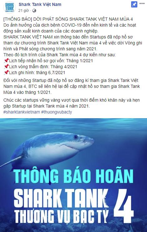 Ảnh hưởng bởi Covid-19, Shark Tank Việt Nam lùi lịch phát sóng mùa 4 sang 2021 - Ảnh 1.