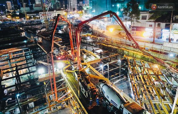 Flycam cận cảnh nhà ga ngầm trung tâm Bến Thành, công trình phức tạp nhất vì kết nối 4 tuyến Metro ở Sài Gòn - Ảnh 16.