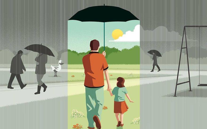 Trời nắng cho người mượn mái hiên tá túc; trời mưa mới dễ mượn dù