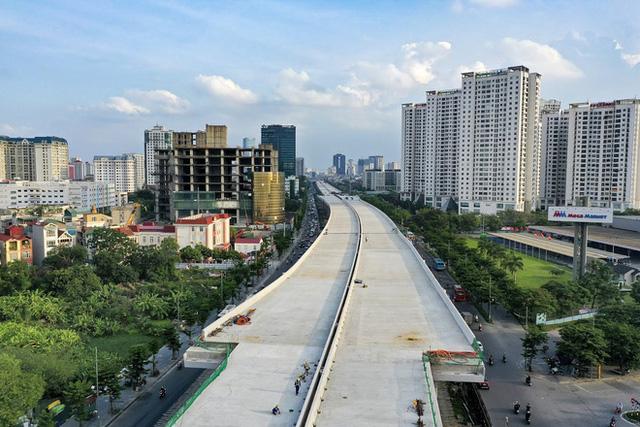 [Ảnh] Toàn cảnh đường vành đai 3 Mai Dịch - Nam Thăng Long nhìn từ trên cao sau gần 2 năm thi công  - Ảnh 6.