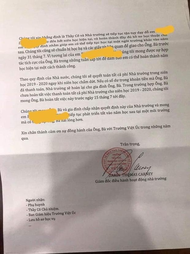 Nhiều phụ huynh trường Quốc tế Việt Úc sốc nặng khi nhận thư không thể tiếp tục tiếp nhận, dù học phí đã đóng đầy đủ và con đang học cuối cấp - Ảnh 1.