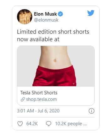 Elon Musk bán quần đùi thương hiệu Tesla giá gần 70 USD - Ảnh 1.