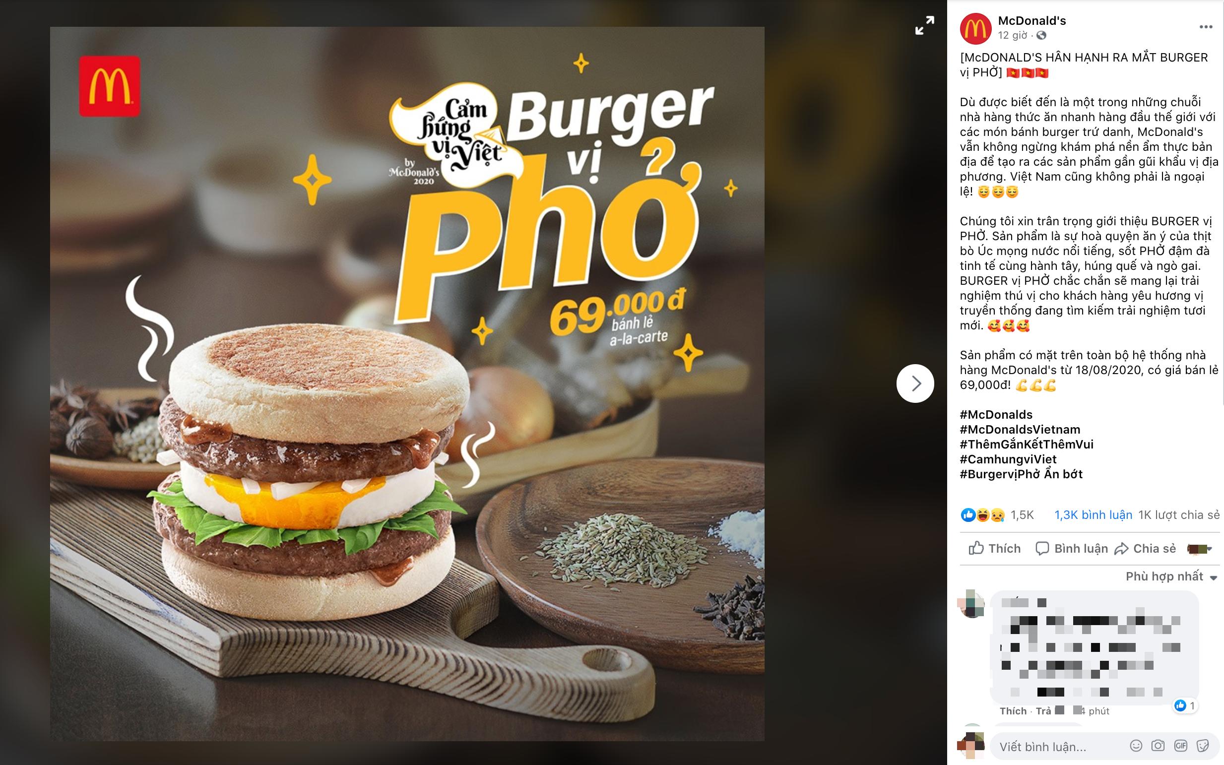 Mượn cảm hứng ẩm thực Việt như pizza bún đậu mắm tôm, pizza chả cá, McDonald's lần đầu ra mắt burger vị phở - hoà quyện thịt bò Úc với sốt Phở cùng húng quế, ngò gai