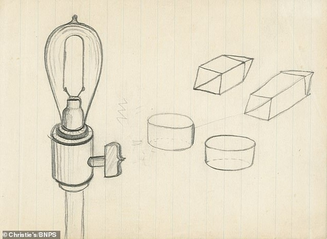 Tờ giấy vẽ hình bóng đèn được bán lại với giá 2,6 tỷ đồng - Ảnh 1.