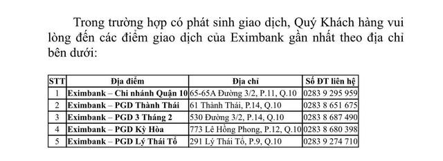 Đóng cửa 1 PGD do khách mắc Covid-19 đến giao dịch, Eximbank nói gì?  - Ảnh 1.