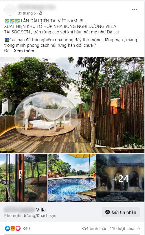 Trải nghiệm đi nghỉ cuối tuần hú hồn ở ngoại ô Hà Nội: Book villa 6 triệu/ đêm có nhà bong bóng ảo diệu giống Bali, khách ngơ ngác nhận phòng y như cái lều vịt - Ảnh 1.