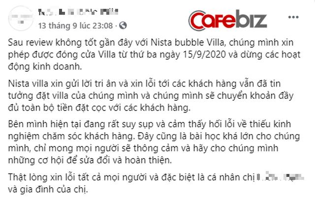 """Sau scandal quảng cáo nhà bong bóng nhưng bán """"lều vịt"""", villa tại Sóc Sơn đã thông báo đóng cửa kèm lời nhắn: """"Chúng tôi đang rất suy sụp và hối lỗi"""" - Ảnh 4."""