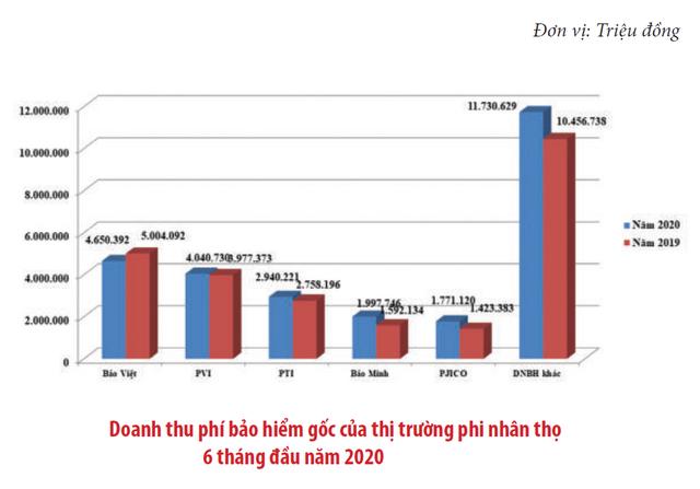 [Chart] Bức tranh thị trường bảo hiểm Việt Nam 6 tháng đầu năm  - Ảnh 2.