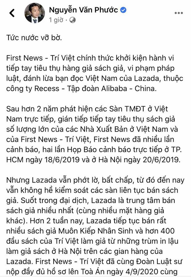 Nóng: Nhà sách Việt Nam First News chính thức khởi kiện sàn TMĐT Lazada - Ảnh 1.