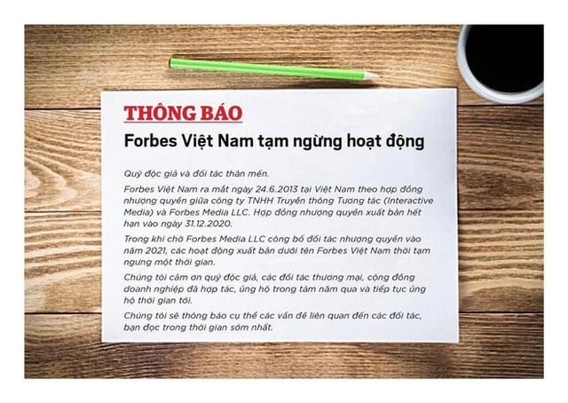 Ngừng hoạt động chưa lâu, Forbes Việt Nam thông báo sẽ sớm xuất bản trở lại - Ảnh 1.