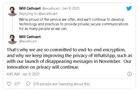 Sau khi người dùng lũ lượt chuyển sang Signal và Telegram, WhatsApp vội tuyên bố rằng sẽ không chia sẻ toàn bộ dữ liệu cho Facebook - Ảnh 3.