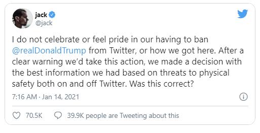 CEO Twitter thừa nhận việc khóa tài khoản của Tổng thống Trump là một thất bại cho MXH, phá hủy mục tiêu và ý tưởng tự do internet   - Ảnh 1.