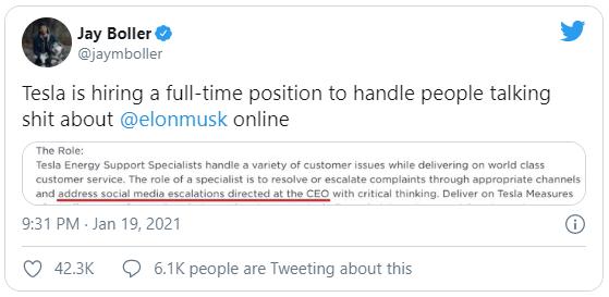 Sợ Elon Musk sa đà vào cãi nhau trên mạng, Tesla tuyển cả chuyên viên bảo vệ ông trên Twitter - Ảnh 1.