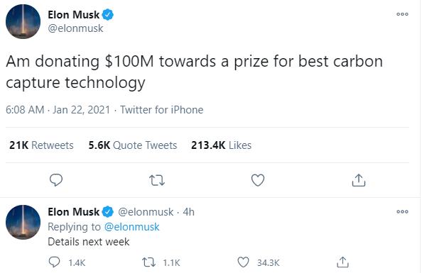 Elon Musk quyên góp 100 triệu USD để khuyến khích phát triển công nghệ lưu giữ carbon - Ảnh 1.