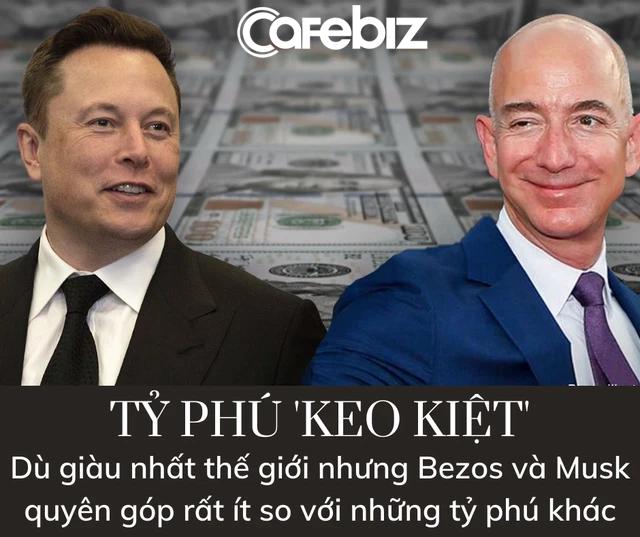 Bảng xếp hạng tỷ phú từ thiện: Jeff Bezos và Elon Musk thuộc hàng 'keo kiệt' nhất thế giới, Mark Zuckerberg và Bill Gates khá hơn đôi chút - Ảnh 1.