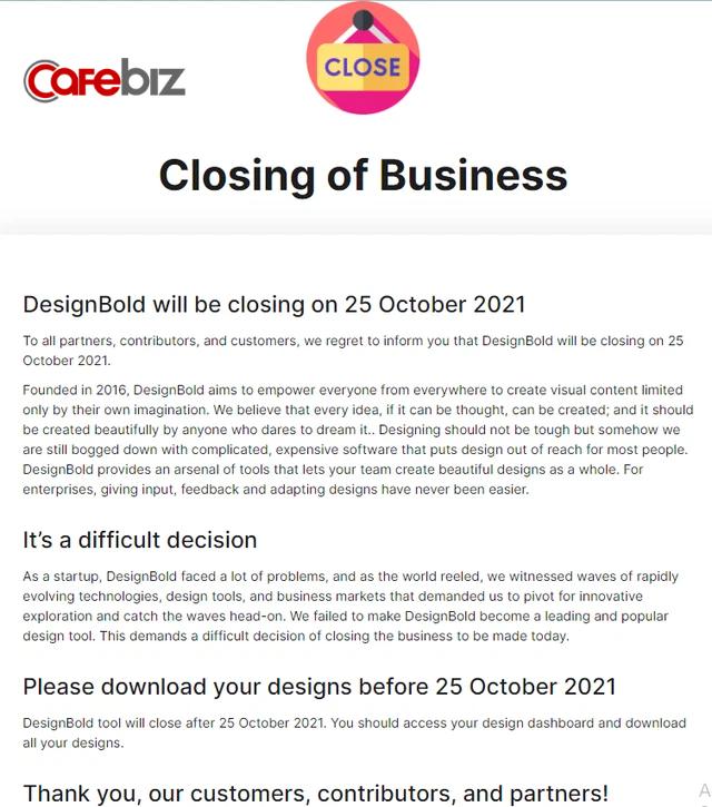(T4-CCKD) Vì sao đóng cửa vĩnh viễn và thừa nhận thất bại đối với DesignBold là một quyết khó khăn? - Ảnh 1.