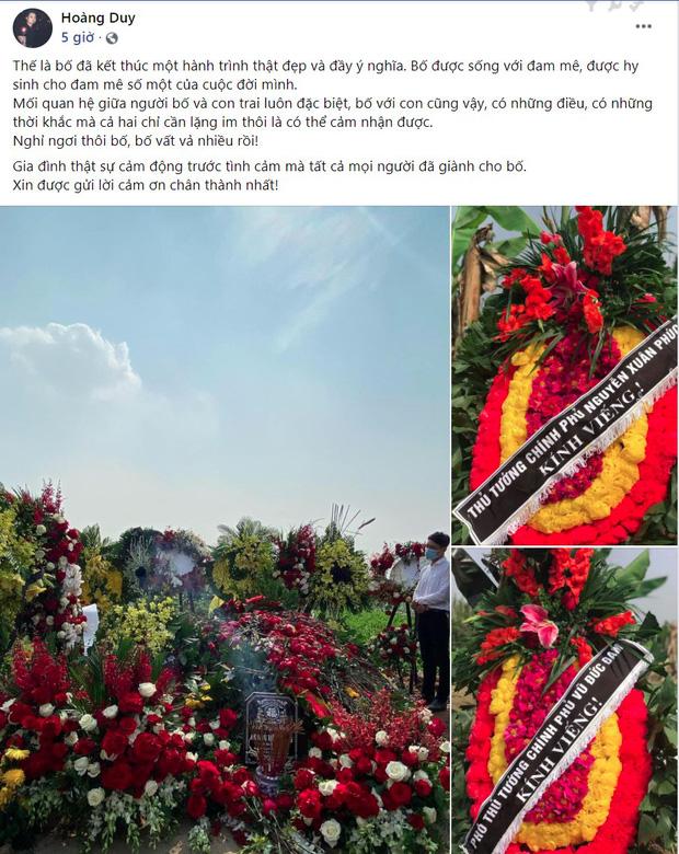 """Con trai viết status tiễn biệt NSND Hoàng Dũng kèm hình ảnh phần mộ phủ kín hoa: """"Nghỉ ngơi thôi bố, bố vất vả nhiều rồi!"""" - Ảnh 1."""