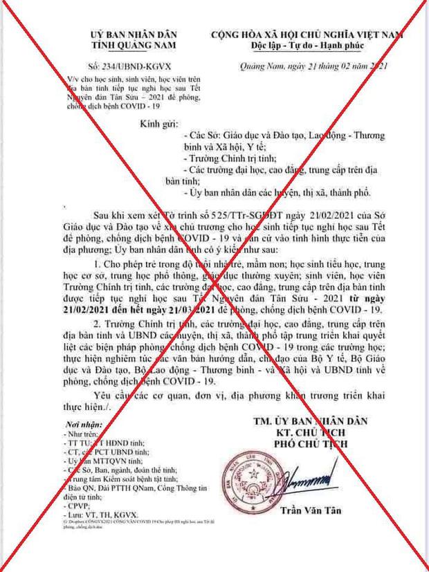 Quảng Nam: Nam sinh lớp 9 trêu bạn bè, giả văn bản cho cả tỉnh nghỉ học vì Covid-19 - Ảnh 1.