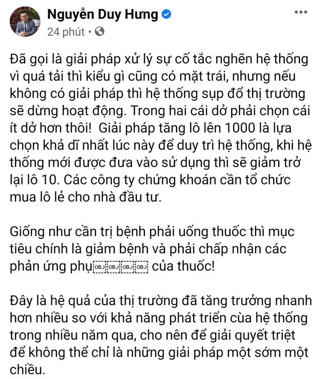 Ông Nguyễn Duy Hưng: Tăng lô lên 1.000 cổ phiếu là giải pháp ít dở hơn để duy trì hệ thống  - Ảnh 1.