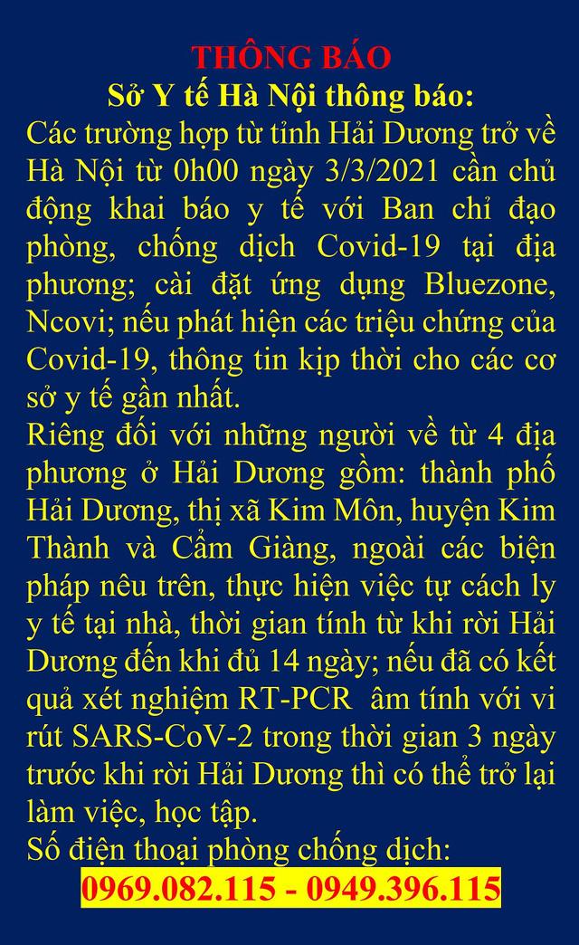 Người về Hà Nội từ 4 địa điểm này ở Hải Dương phải cách ly từ ngày 3/3  - Ảnh 1.