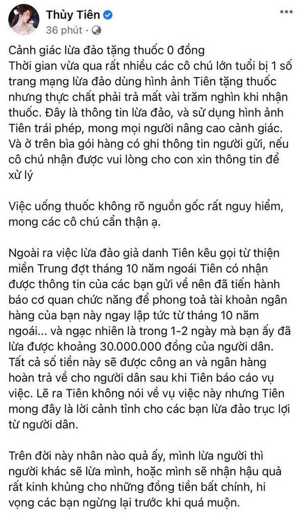 Thuỷ Tiên bị mạo danh tặng thuốc lừa đảo, tiết lộ gây sốc về số tiền bị kẻ gian chiếm trong drama cứu trợ miền Trung - Ảnh 1.