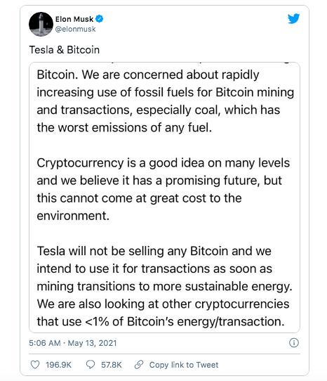 Elon Musk 'lật kèo', tuyên bố Tesla dừng chấp nhận thanh toán bằng Bitcoin, giá đồng tiền số lập tức cắm đầu lao dốc - Ảnh 2.