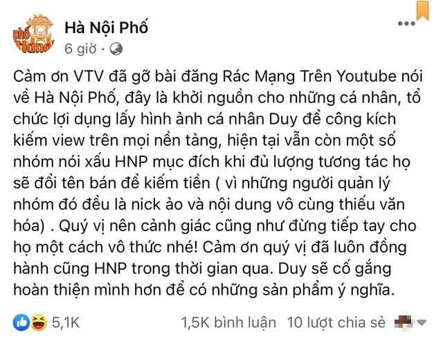 Duy Nến bất ngờ... cám ơn VTV vì đã gỡ bài đăng rác mạng nói về kênh Hà Nội Phố, nhưng YouTube vẫn còn nguyên video? - Ảnh 1.