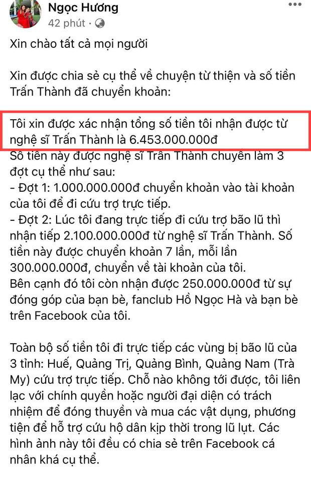 Mẹ Hà Hồ cuối cũng đã nói rõ về chuyện Trấn Thành chuyển 6,45 tỷ tiền cứu trợ miền Trung kèm hình ảnh, thông tin minh bạch - Ảnh 1.