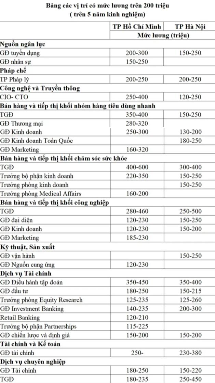 Các vị trí việc làm có mức lương trên 200 triệu ở Việt Nam - Ảnh 1.