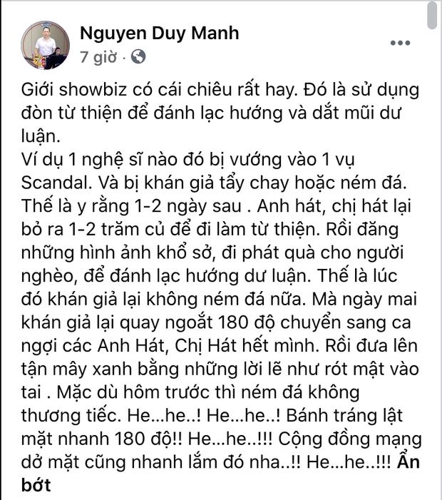 Duy Mạnh bóc trần chiêu trò từ thiện của showbiz Việt, đổi trắng thay đen chỉ trong 1-2 ngày? - Ảnh 1.