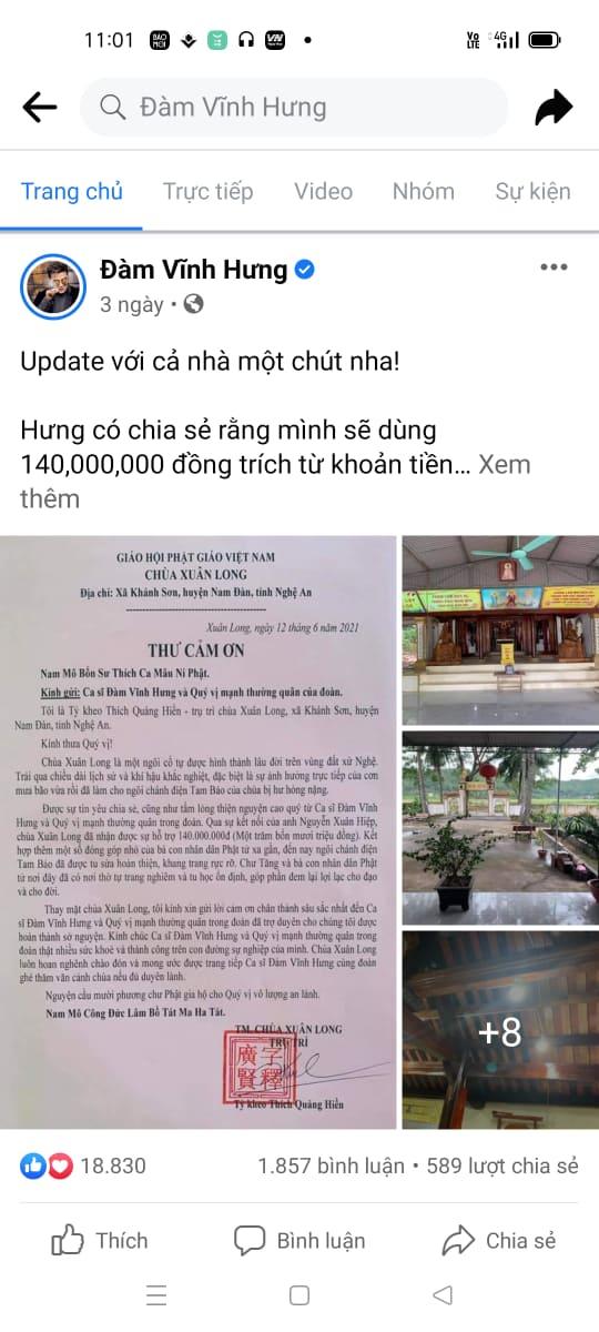 Vụ Đàm Vĩnh Hưng dùng 140 triệu tiền ủng hộ bà con vùng lũ đi sửa chùa ở Nghệ An: Chính quyền địa phương nói gì? - Ảnh 1.