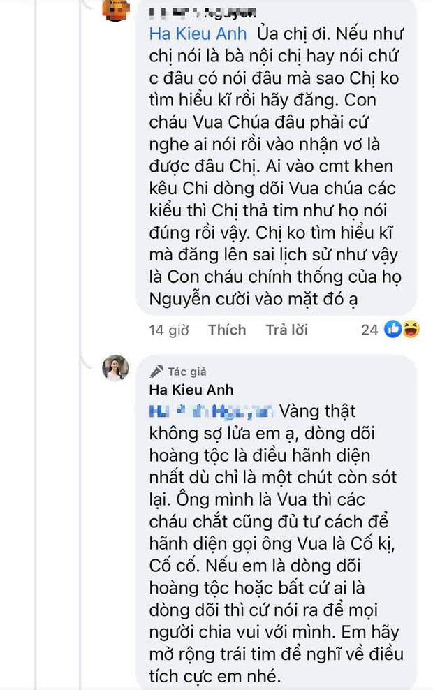 Hoa hậu Hà Kiều Anh đáp trả 1 tràng khi bị netizen thắc mắc về drama tự nhận là công chúa đời thứ 7 triều Nguyễn - Ảnh 3.