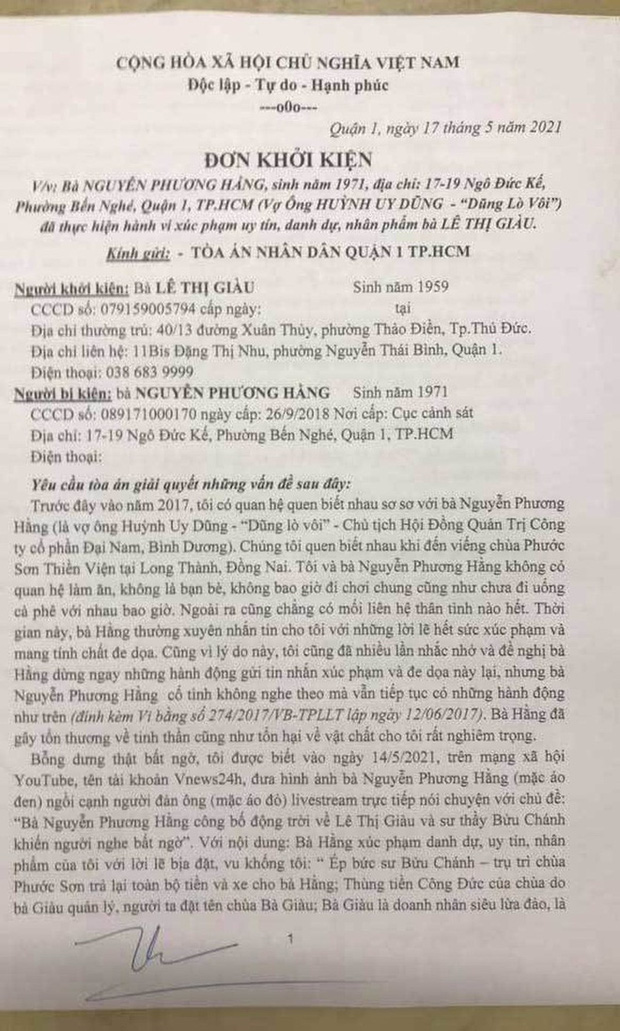 Bị kiện đòi bồi thường 1.000 tỷ đồng, bà Phương Hằng tuyên bố kiện ngược, tiết lộ từng bị bà Lê Thị Giàu thuê giang hồ bao vây và ông Dũng phải gọi công an tới giải cứu - Ảnh 2.