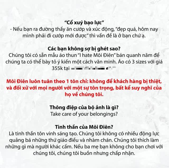 Gây tranh cãi với bộ ảnh dàn cảnh cướp giật, thương hiệu thời trang ở Sài Gòn lên tiếng: Nếu bạn ra đường thấy ăn cướp và xúc động, thì vấn đề là ở bạn! - Ảnh 3.