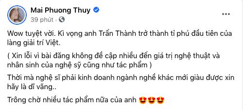Mai Phương Thúy kỳ vọng Trấn Thành trở thành tỉ phú đầu tiên của làng giải trí Việt - Ảnh 1.