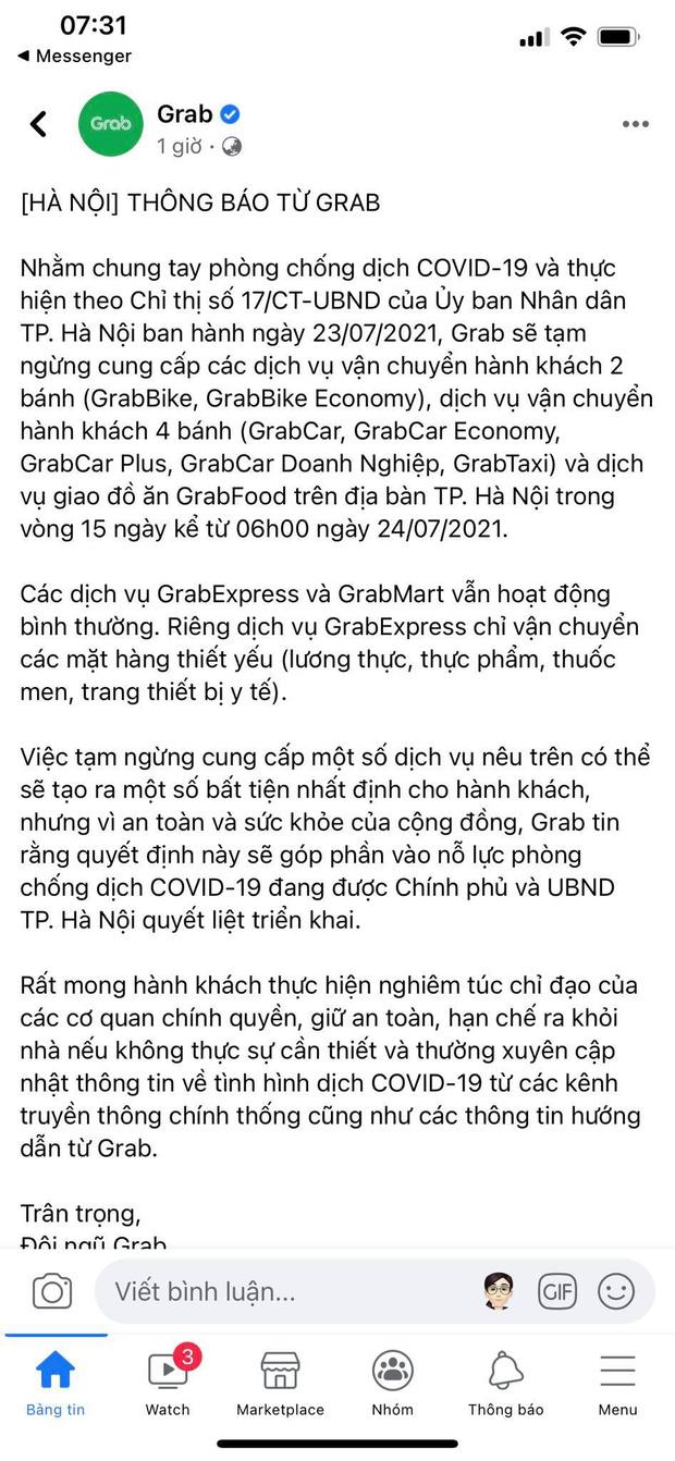 Grab và Now thông báo tạm dừng dịch vụ giao đồ ăn tại Hà Nội từ 6h ngày 24/7 - Ảnh 1.