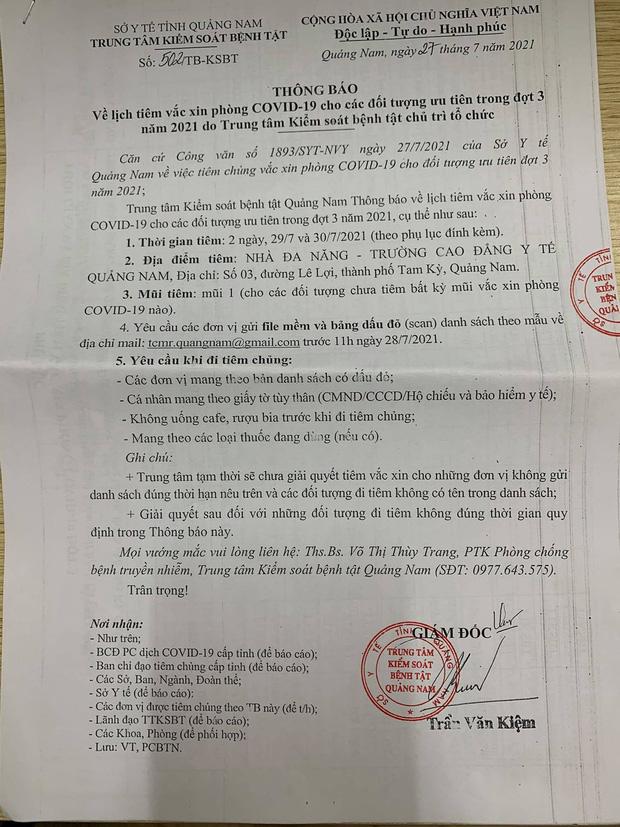 Làm rõ việc 3 doanh nghiệp bất động sản được ưu ái tiêm vắc xin Covid-19 ở Quảng Nam - Ảnh 1.