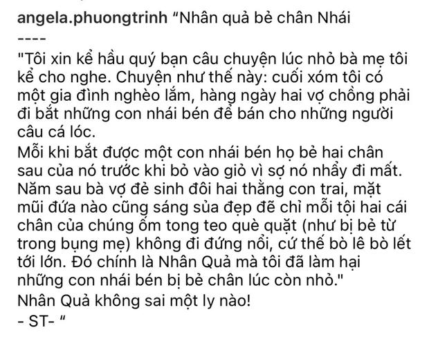 Angela Phương Trinh gây phẫn nộ vì chia sẻ chuyện phản khoa học về nguyên nhân trẻ bị khuyết tật kèm ảnh bé gái và cóc nhái - Ảnh 1.