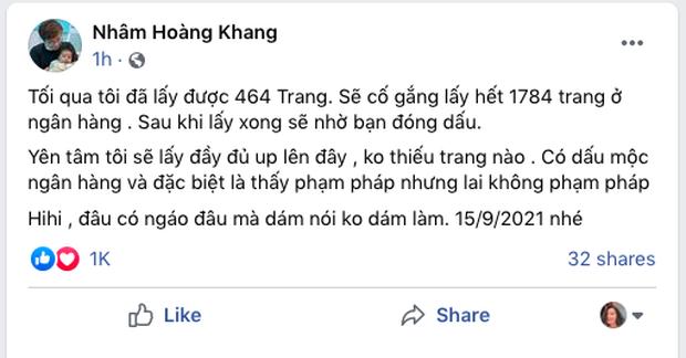 Cậu IT Nhâm Hoàng Khang tuyên bố đã có 464/1784 trang sao kê 280 tỷ đồng của Quỹ từ thiện Hằng Hữu: Sẽ cố gắng lấy hết và nhờ bạn đóng dấu - Ảnh 1.