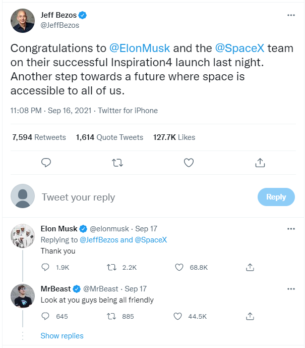 Ghét nhau như chó với mèo, nhưng SpaceX của Elon Musk vừa đạt một thành tích làm cả Jeff Bezos cũng phải ngả mũ kính phục - Ảnh 2.