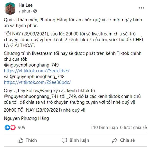 Bà Phương Hằng bất ngờ thông báo buổi trò chuyện với nội dung Chết là giải thoát, CĐM để lại phản ứng gây bất ngờ - Ảnh 1.
