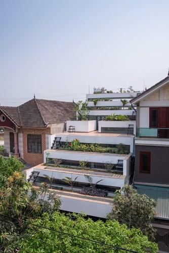 Khác với những ngôi nhà bên cạnh, ngôi nhà độc đáo này không hề lợp ngói hay làm mái thái mà được đổ bê tông tạo nên những khu vườn bậc thang tuyệt đẹp trên mái nhà.