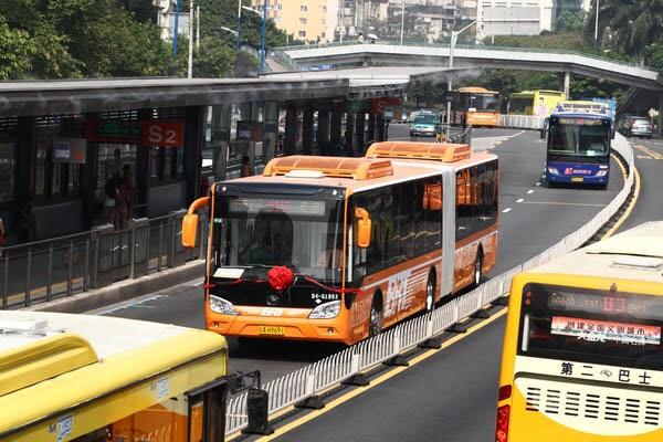 Tại một số quốc gia trên thế giới, hệ thống xe buýt BRT còn được bố trí riêng một làn đường ở giữa để tránh bị cản trở khi di chuyển vào bến.