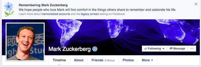 Mark Zuckerberg bị tuyên bố đã chết trên Facebook